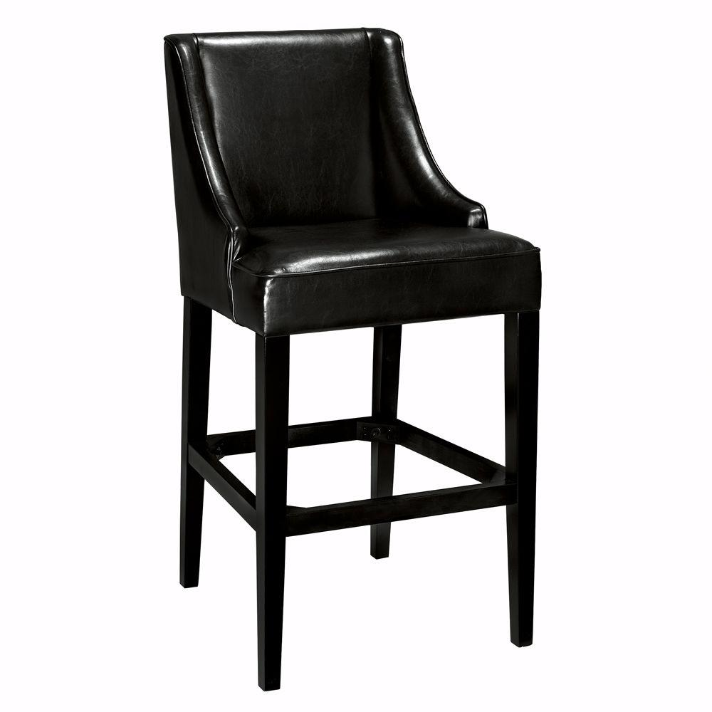 Home Decorators Collection 31 in. Black Cushioned Bar Stool with Back