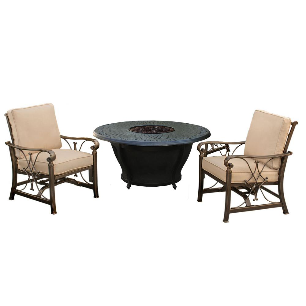 Caledonia 4-Piece Aluminum Patio Fire Pit Conversation Set with Oatmeal Cushions