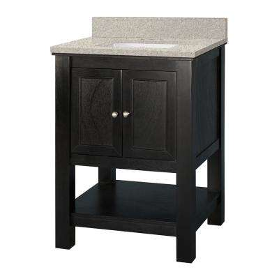 Gazette 25 in. W x 22 in. D Vanity in Espresso with Engineered Marble Vanity Top in Sedona with White Sink