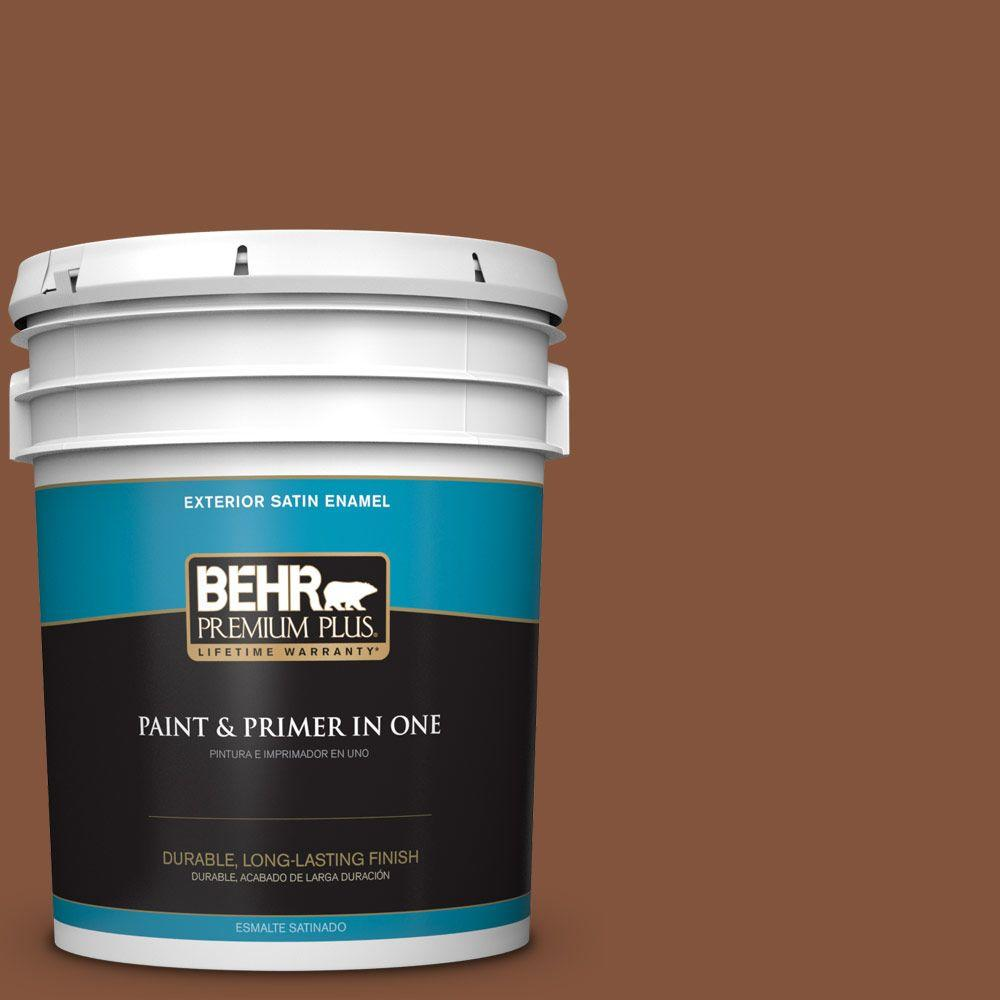 BEHR Premium Plus 5-gal. #230F-7 Florence Brown Satin Enamel Exterior Paint