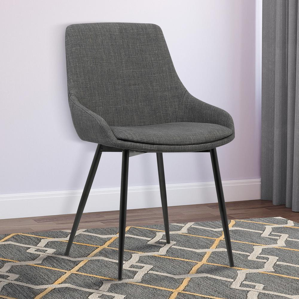 Armen Living Mia 33 In. Charcoal Fabric And Black Powder Finish  Contemporary Dining Chair