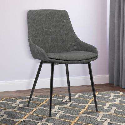 Mia 33 in. Charcoal Fabric and Black Powder Finish Contemporary Dining Chair