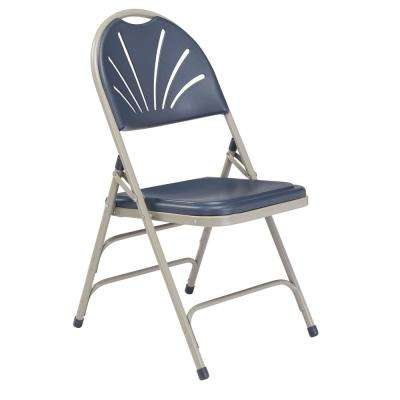 NPS 1100 Series Polyfold Navy Blue Fan Back Folding Chair (Pack of 4)