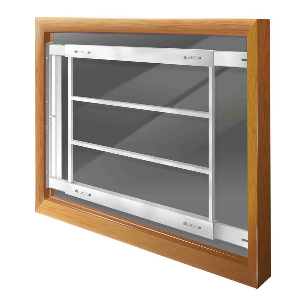 Swing-Away 21 in. to 28 in. Adjustable Width 4-Bar Window Guard, White