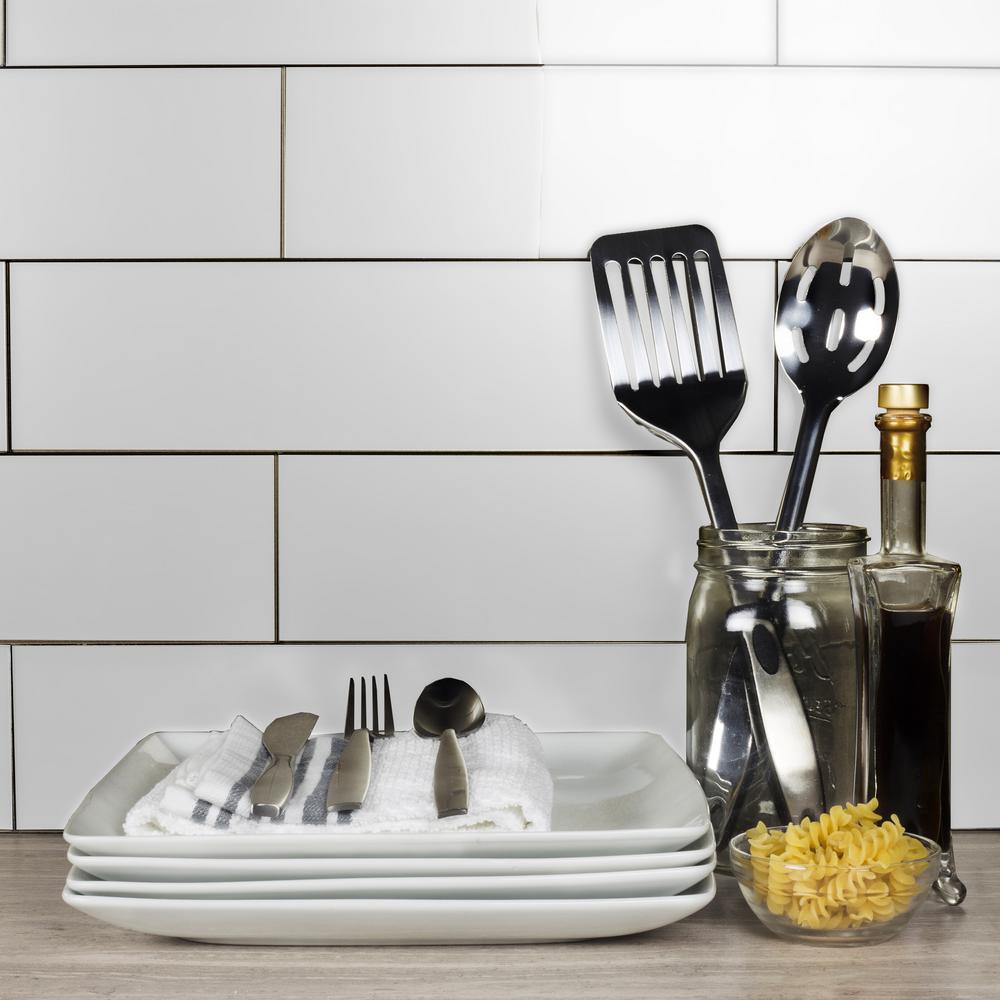Subway 4 in. x 16 in. Handmade Metallic White Matte Glass Peel & Stick Decorative Bathroom Wall Tile Backsplash (9-Pack)