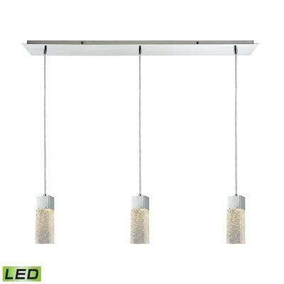 cluster pendant lighting. Cubic Ice 3-Light LED Linear Pan Polished Chrome With Solid Textured Glass  Pendant Cluster Pendant Lighting G