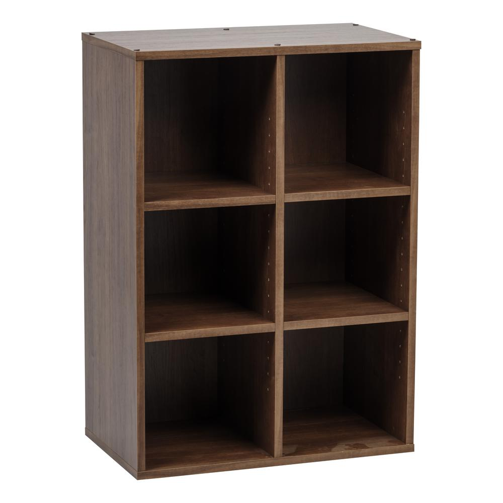new styles 09763 97791 IRIS Collan Series Brown 6-Cube Wood Shelf