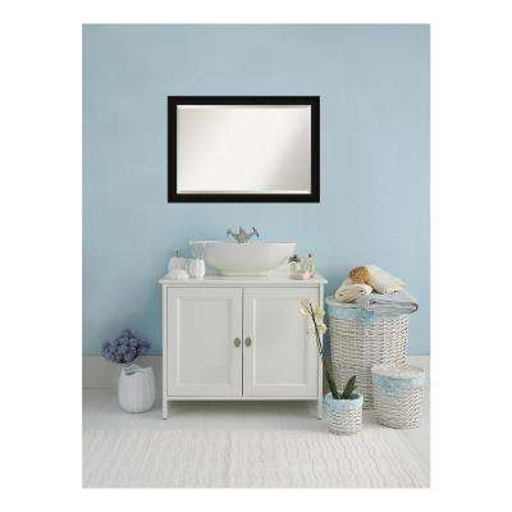 Manteaux Black Wood 40 in. W x 28 in. H Single Contemporary Bathroom Vanity Mirror
