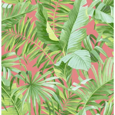 Alfresco Coral Tropical Palm Strippable Wallpaper (Covers about 56.4 sq. ft.)