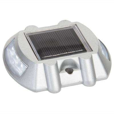 4 in. Solar Powered Integrated LED White Road Stud Deck Light