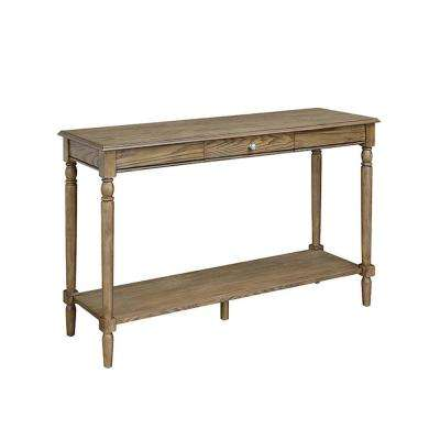 French Country Driftwood Drawer and Shelf Console Table