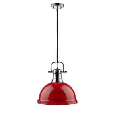 Duncan 1-Light Chrome Pendant with Rod with Red Shade