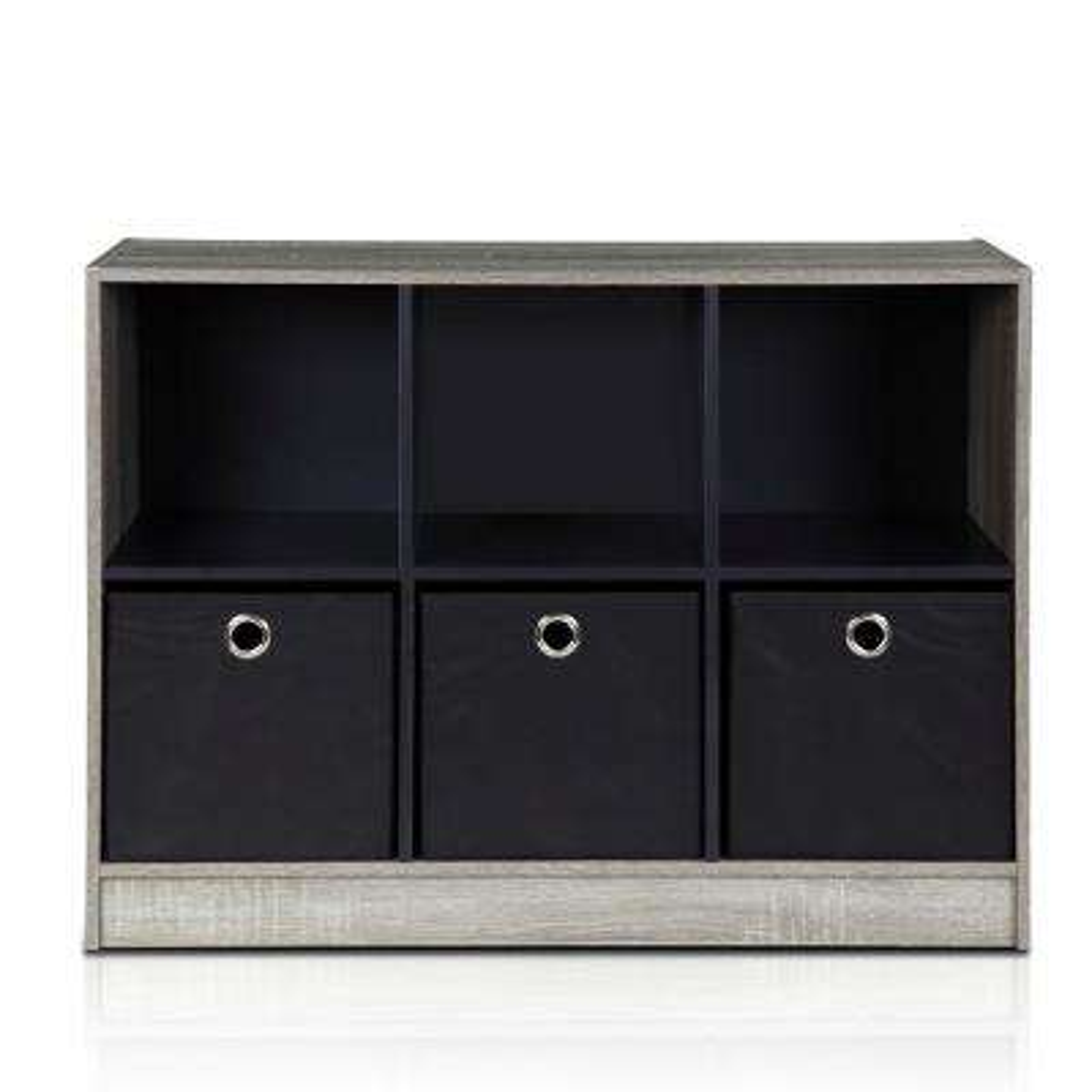 Basic French Oak Grey 6-Cube Bookcase with Storage Bins