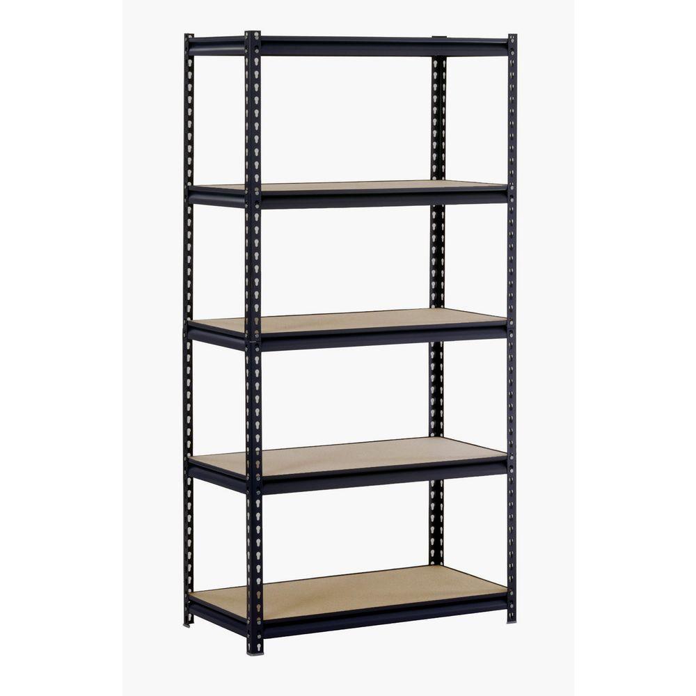 72 in. H x 48 in. W x 24 in. D 5-Shelf Steel Shelving Unit in Black