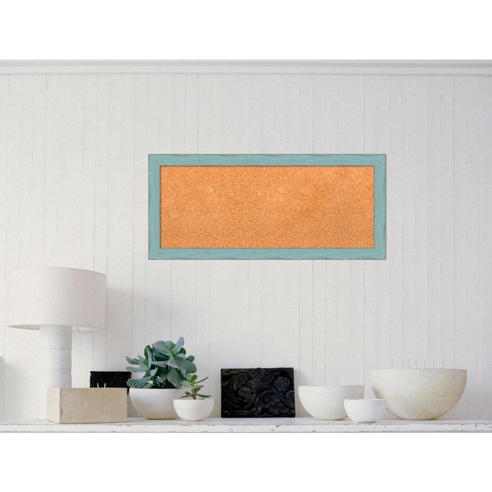 Sky Blue Rustic Wood 33 in. W x 15 in. H Framed Cork Board