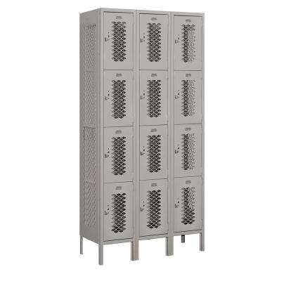 74000 Series 12 Compartments Four Tier 36 In. W x 78 In. H x 15 In. D Vented Metal Locker Assembled in Gray