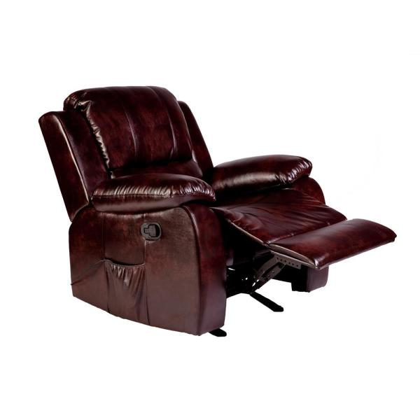 Relaxzen Clarkson Brown PU Leather Massage Rocker Recliner 60-7030M11