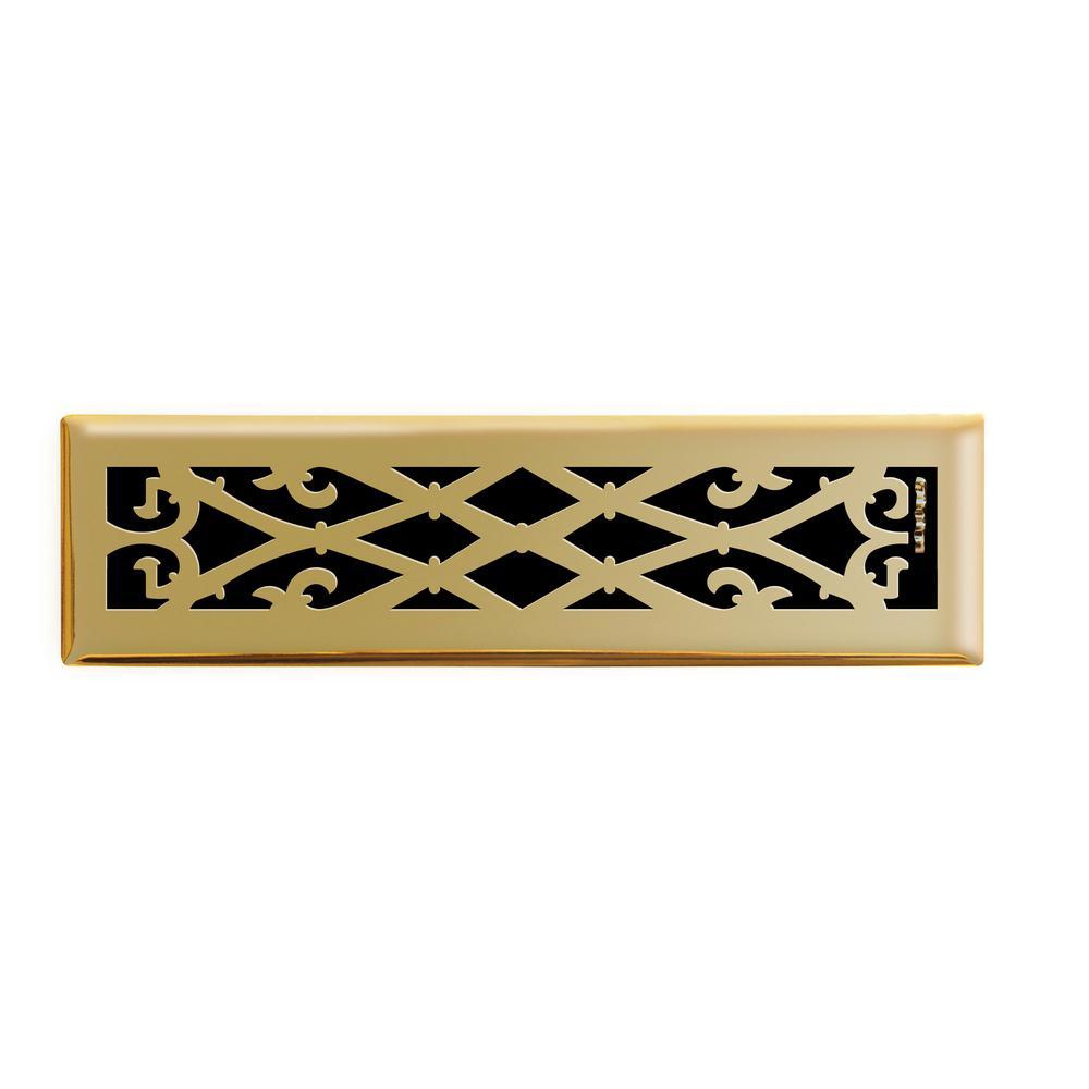 2 in. x 12 in. Elegant Scroll Floor Register in Polished Brass