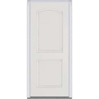 36 in. x 80 in. Left-Hand Outswing 2-Panel Arch Primed White Fiberglass Smooth Severe Weather Prehung Front Door