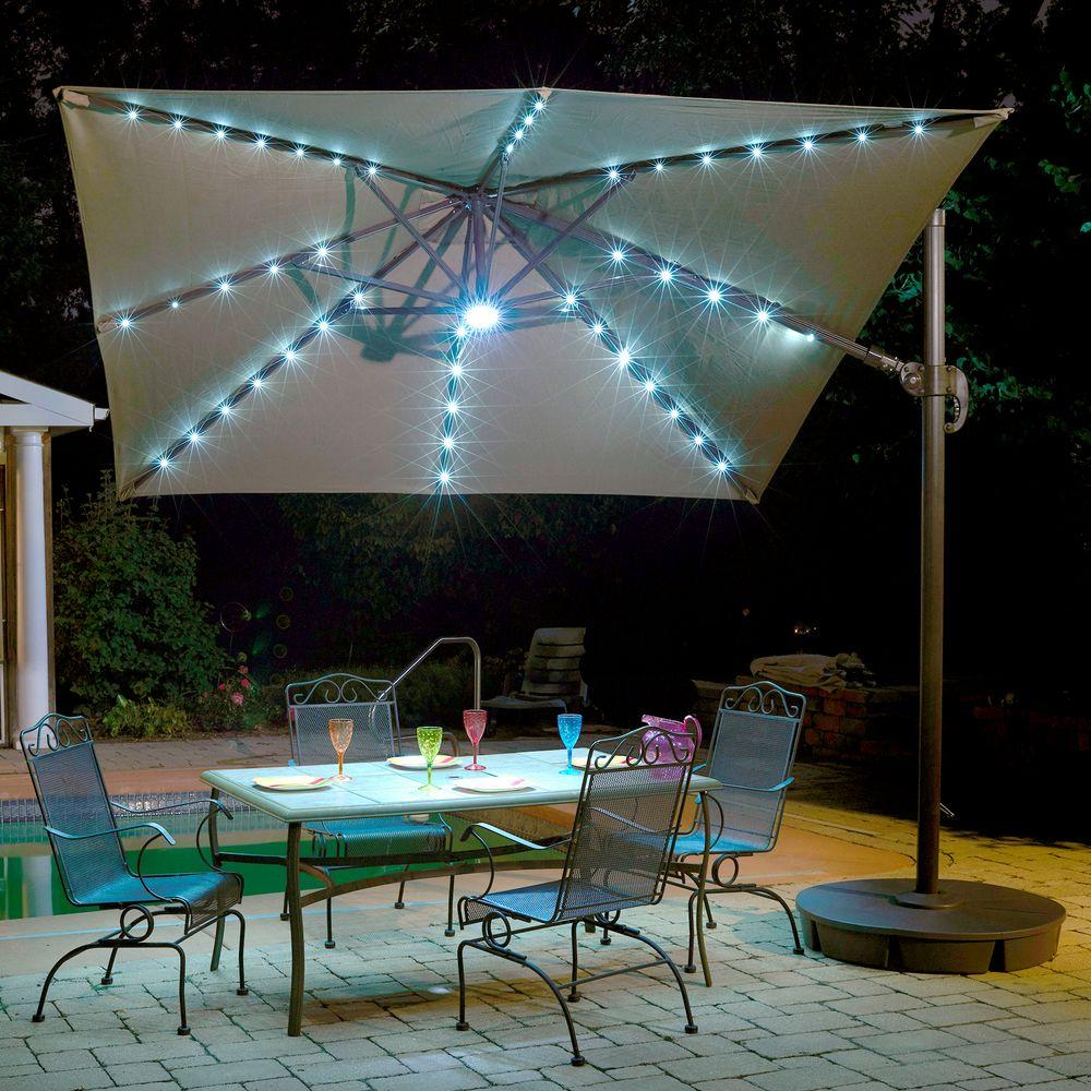 Captivating Island Umbrella Santorini II Fiesta 10 Ft. Square Cantilever Patio Umbrella  In Stone Sunbrella Acrylic