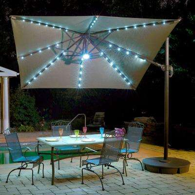 Santorini II Fiesta 10 ft. Square Cantilever Patio Umbrella in Stone Sunbrella Acrylic
