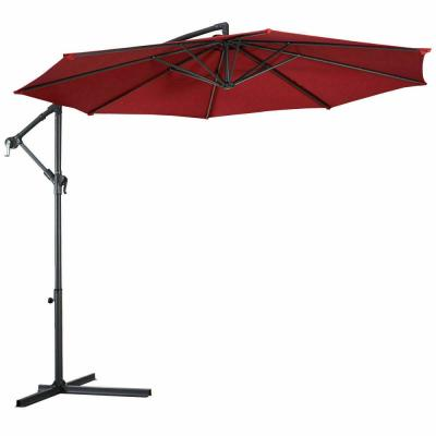 10 ft. Hanging Drape Patio Umbrella in Burgundy Sun Shade