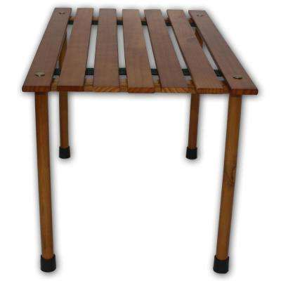 Brown Wood Rectangle Outdoor Picnic Table with Bag