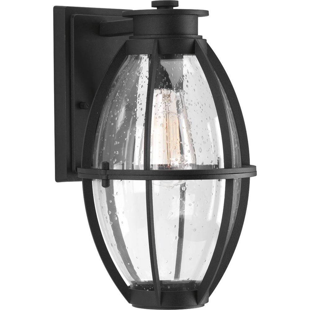 Progress Lighting Pier 33 Collection 1-Light 13 in. Outdoor Black Wall Lantern Sconce