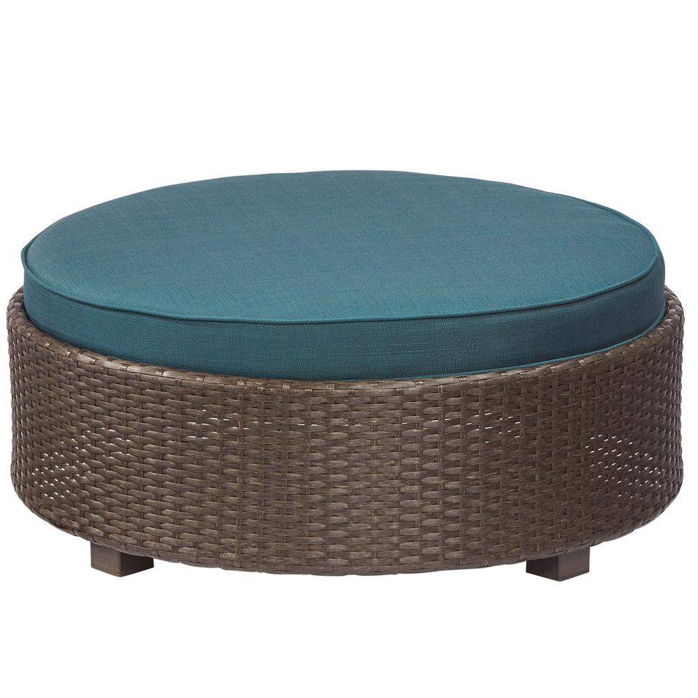Torquay Wicker Outdoor Ottoman with Charleston Cushion