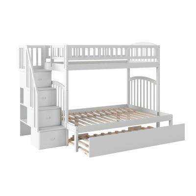 Westbrook White Twin Over Full Staircase Bunk with Twin Size Urban Trundle Bed