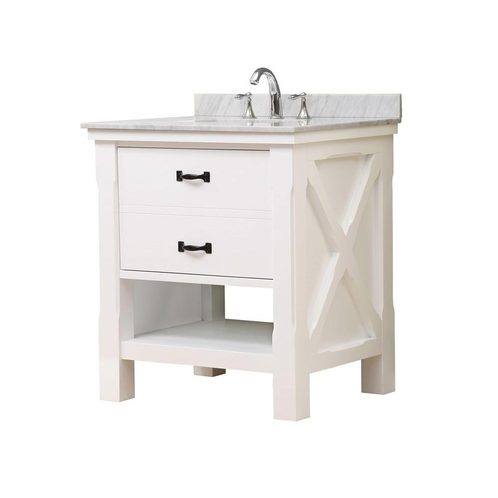Direct vanity sink Xtraordinary Spa 32 in. Vanity in White with Marble Vanity Top in Carrara White with White Basin