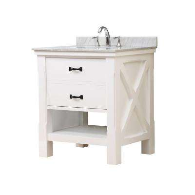 Xtraordinary Spa 32 in. Vanity in White with Marble Vanity Top in Carrara White with White Basin