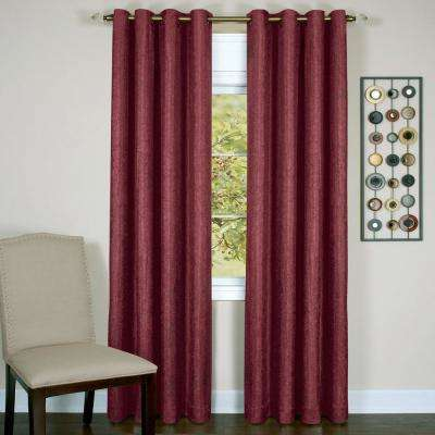 Taylor Burgundy Polyester Lined Grommet Panel - 50 in. W x 84 in. L