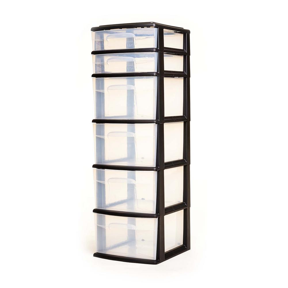 HOMZ Storage Cart with 6 Drawers in Black