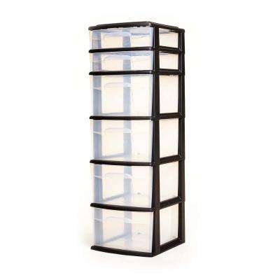 Storage Cart with 6 Drawers in Black