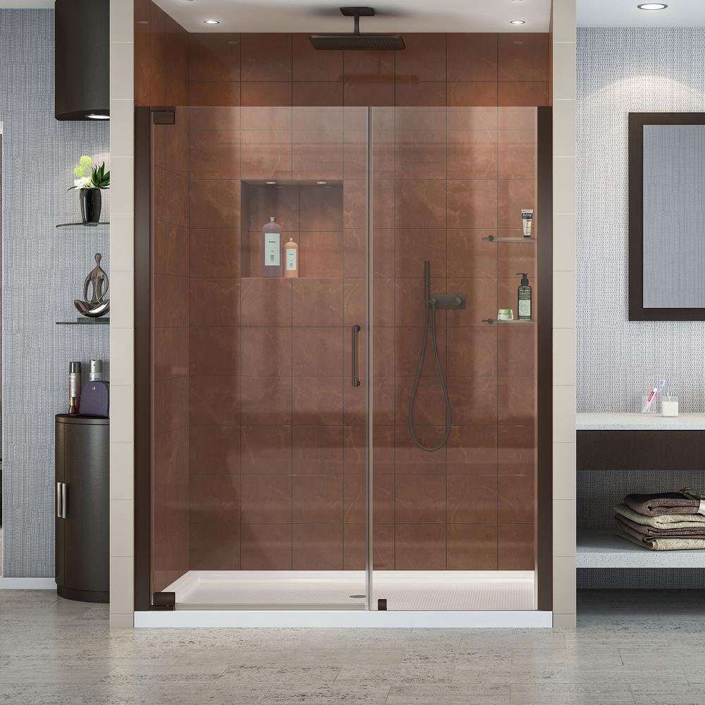 Elegance 60 in. x 72 in. Frameless Pivot Shower Door in Oil Rubbed Bronze with 60 in. x 30 in. Base in White