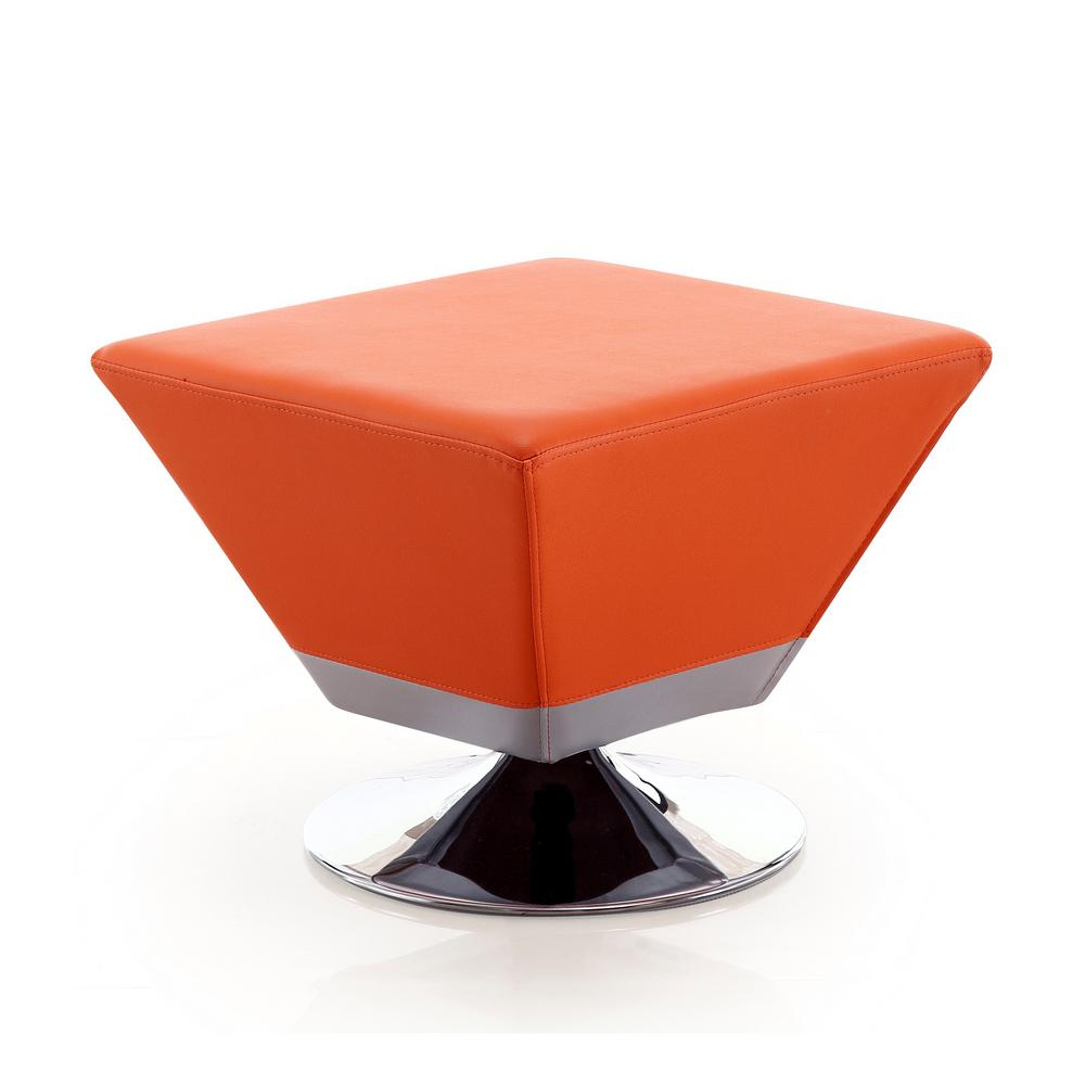 Excellent Orange Diamond Swivel Ottoman Machost Co Dining Chair Design Ideas Machostcouk