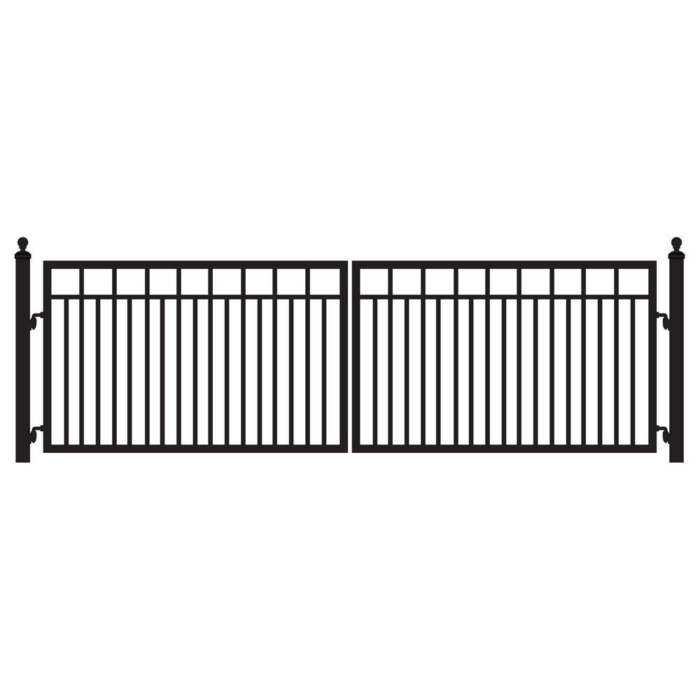 Mighty Mule Sanibel 16 ft. W x 4 ft. H 8 in. Powder Coated Steel Dual Driveway Fence Gate