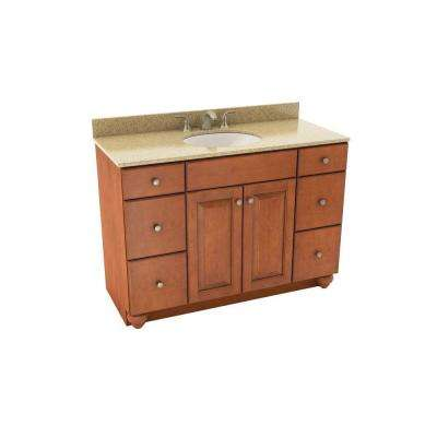 Charlottesville 49 in. Vanity in Cognac with Silestone Quartz Vanity Top in Bamboo and Oval White Sink