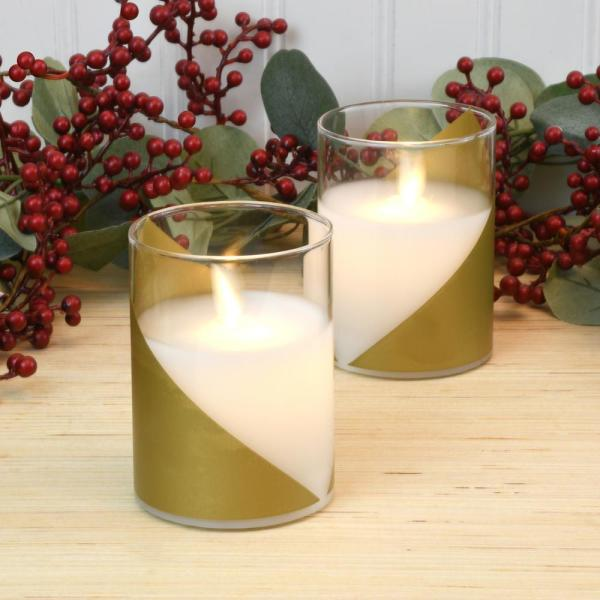 Wraparound Gold Battery Operated LED Glass Candles with Moving Flame (Set of 2)