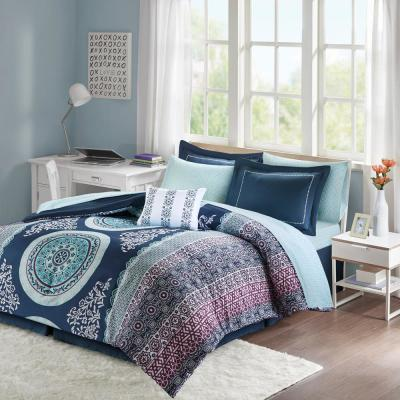 Eleni 9-Piece Navy Queen Boho Comforter Set