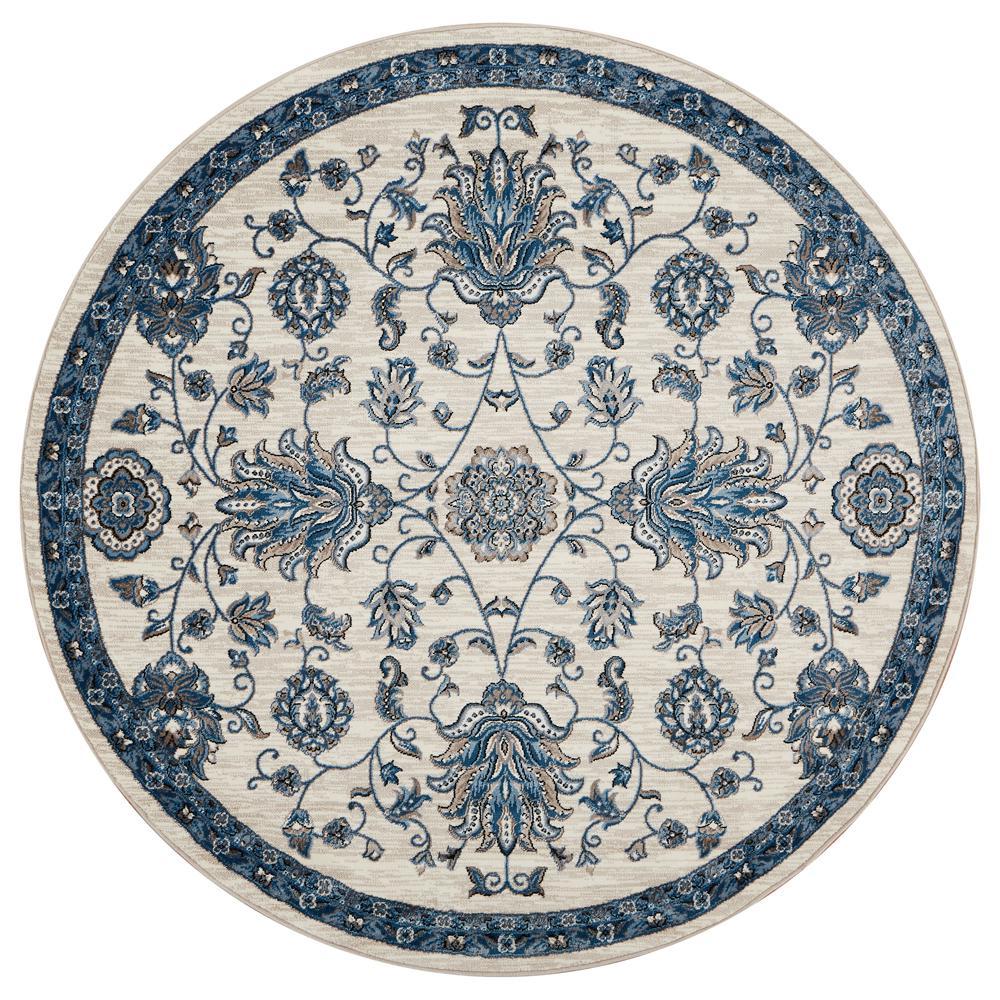 Adana White/Blue Round 6 ft. x 6 ft. Plush Indoor Round Area Rug