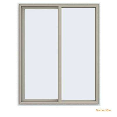 47.5 in. x 59.5 in. V-4500 Series Desert Sand Painted Vinyl Left-Handed Sliding Window with Fiberglass Mesh Screen