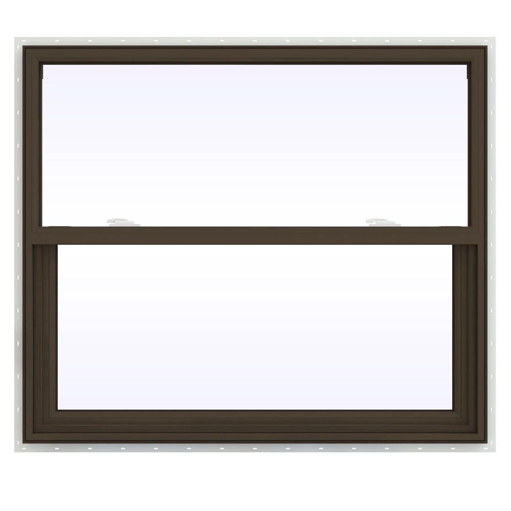 JELD-WEN 41.5 in. x 35.5 in. V-2500 Series Single Hung Vinyl Window - Brown