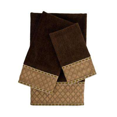 Pittsburgh Brown Embellished Towel Set (3-Piece)
