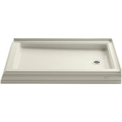 Memoirs 48 in. x 34 in. Double Threshold Shower Base in Biscuit