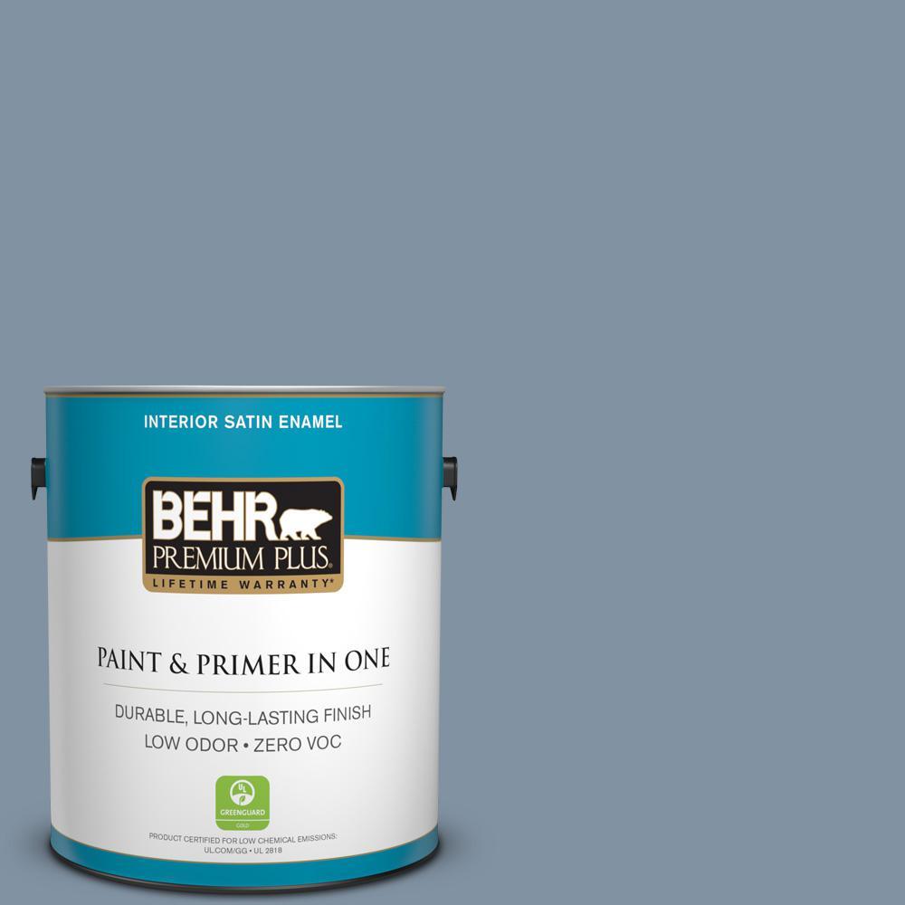 1 gal. #PPU14-06 Coastal Vista Zero VOC Satin Enamel Interior Paint