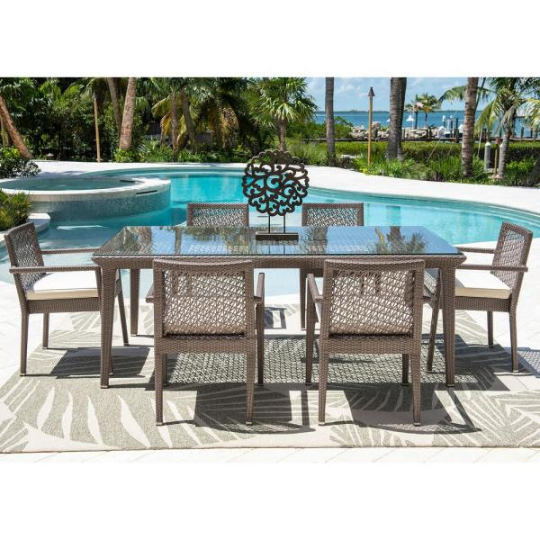 Panama Jack Maldives Gray 7-Piece Wicker Outdoor Dining Set with Off-White Cushions