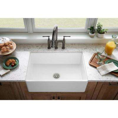 Explore Farmhouse Apron Front Fireclay 30 in. Single Bowl Kitchen Sink in Gloss White