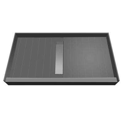 36 in. x 60 in. Single Threshold Shower Base with Center Drain and Tileable Trench Grate